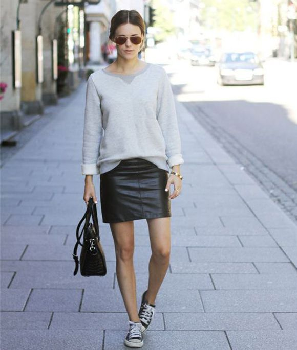 sneakers-and-skirts-black-leather-mini-skirt-grey-sweatshirt-black-converse-sneakers-black-bag-sunglasses-fall-spring-via-channelingcontessa.com