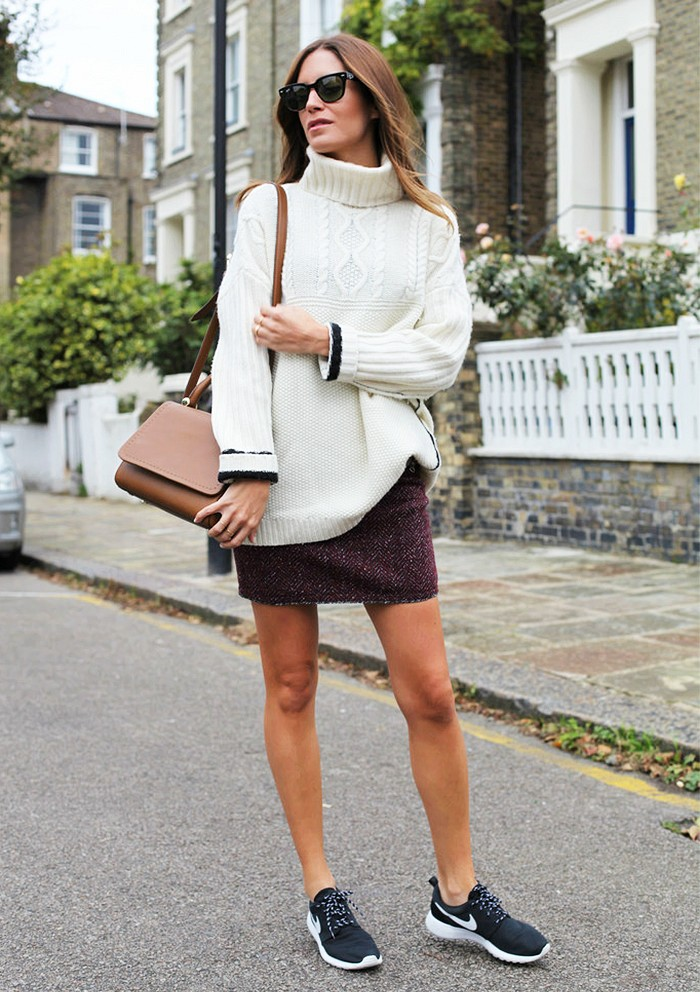 turtlenecks and skirt, nike sneakers