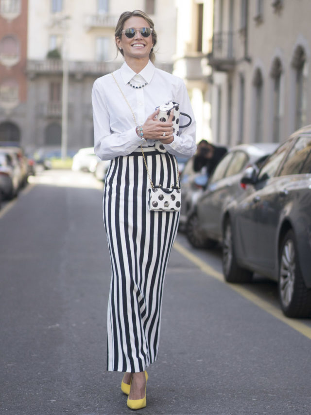 spring work outfit-bold stripes-black and white-white oxford shirt-long midi skirt-