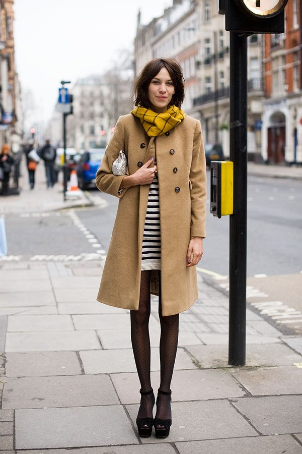summer-dresses-into-fall-transitional-dressing-stripes-striped-dress-camel-coat-sandals-and-tights-summer-sandals-into-winter-fall-scarf-clutch-going0out-preppy-classic-alexa-chung