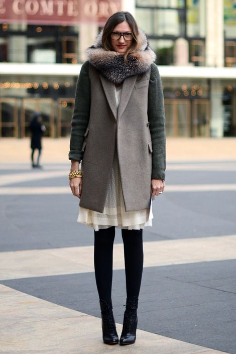 summer-dresses-into-fall-winter-whites-fall-whites-grey-coat-tights-glasses-fur-booties-transitional-dressing-style-setters-jenna-lyons-jcrew-via-foxontherun.tumblr.com