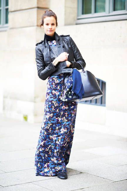 Wearing jacket with maxi dress