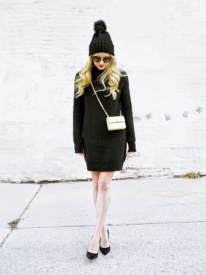 sweater dress, turtleneck sweater, pom pom hat beanie, all black, pumps, atlantic-pacific