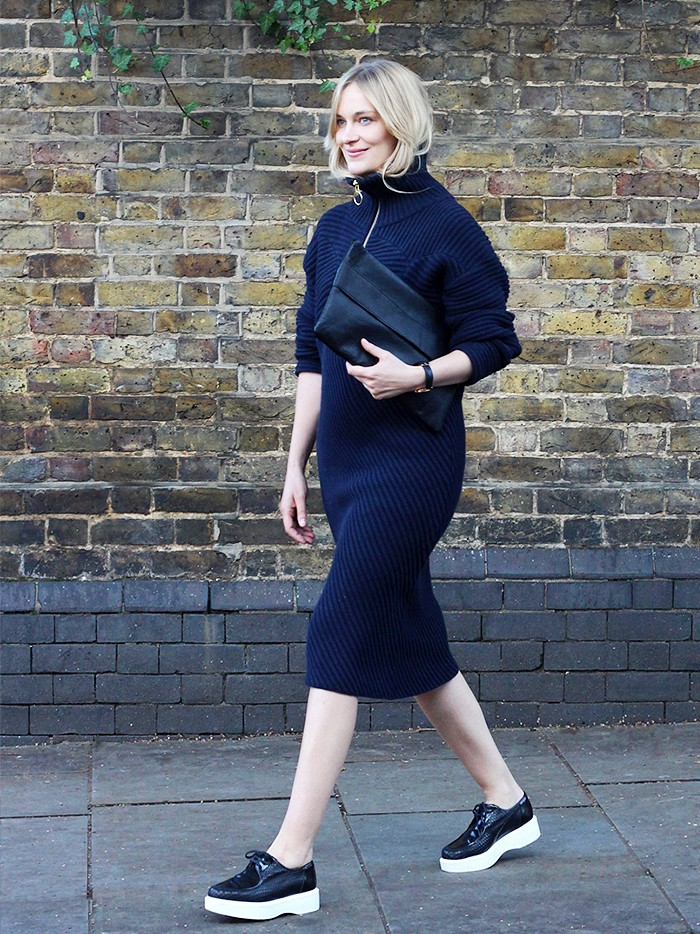 blame it on fashion, sweater dress, turtleneck sweater dress, navy and black