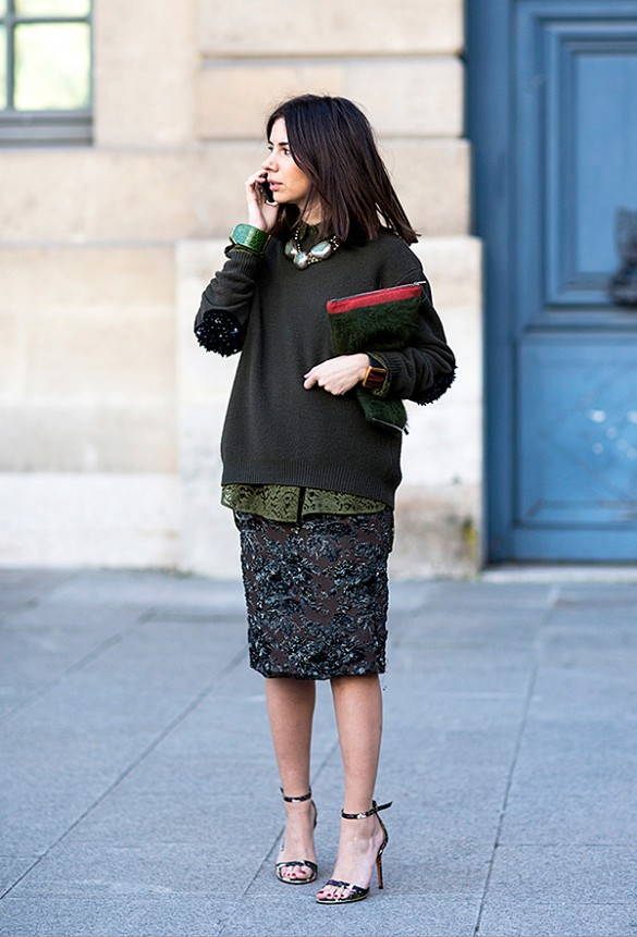 sparkly sequined pencil skirt, army green, layers, going out, work, statement necklace, oversized sweater sweatshirt, sweatshirt to work, lace, monochromatic, green