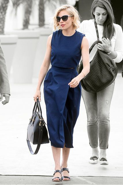 sienna miller, navy crop top, wrap midi skirt, matching skirt, set, summer work outfit