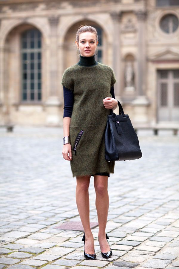 army green, fuzzy furry dress, turtleneck, sheath, work, spring, fall, winter, pumps, laydlike, model style, army green sheath, zippers, texture