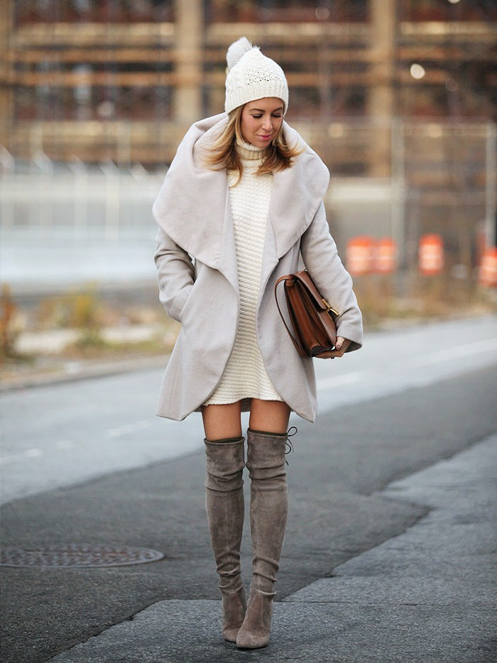 turtleneck sweater dress, thigh high over the knee boots, shawl neck jacket, pom pom hat beanie, neutrals fall winter neutrals whites