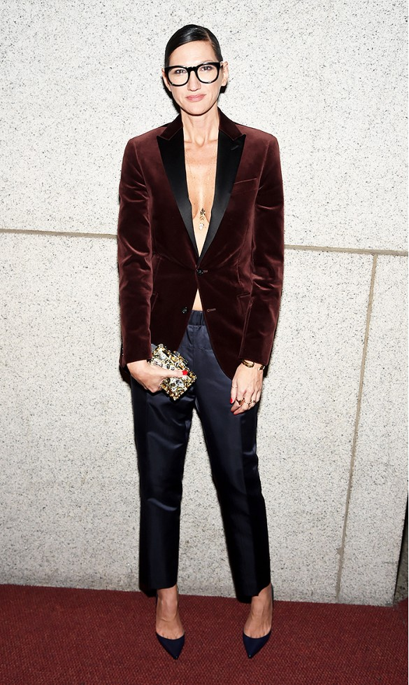 what to wear to holiday parties, jenna lyons, velvet blazer, tuxedo
