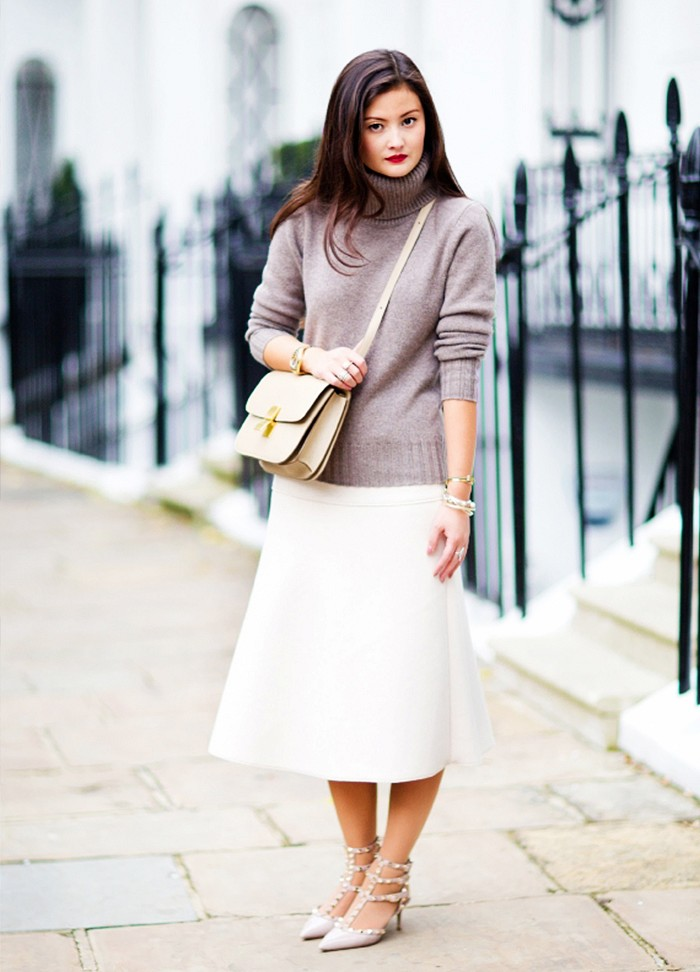 sweaters and skirts, fall winter outfits, white skirts, turtleneck sweater, fall winter work outfit