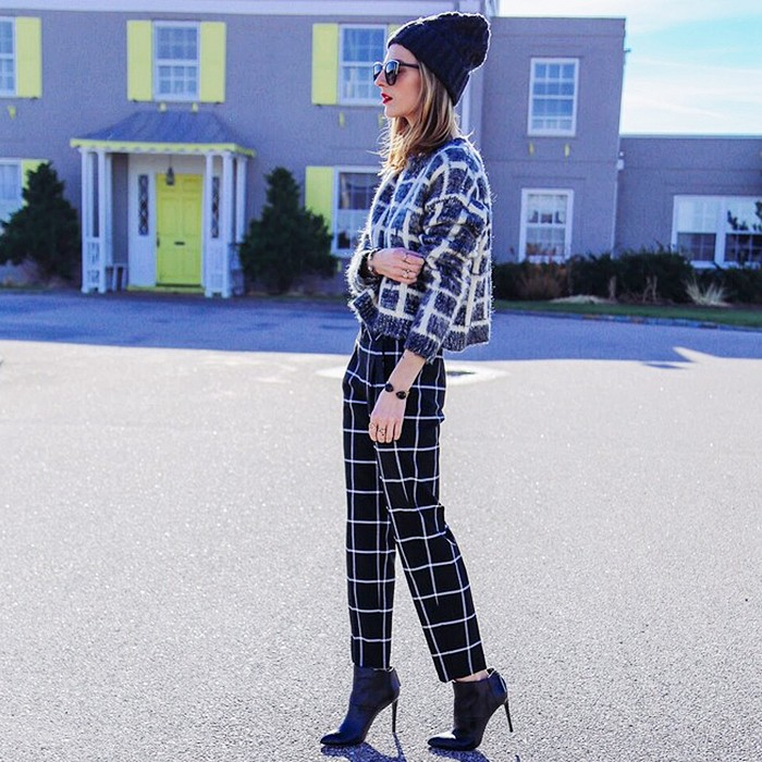 beanie, booties, printed pants, mixed prints, sunglasses, heeled ankle boots, windowpane-prints-print-on-print-graphic-via-whowhatwear