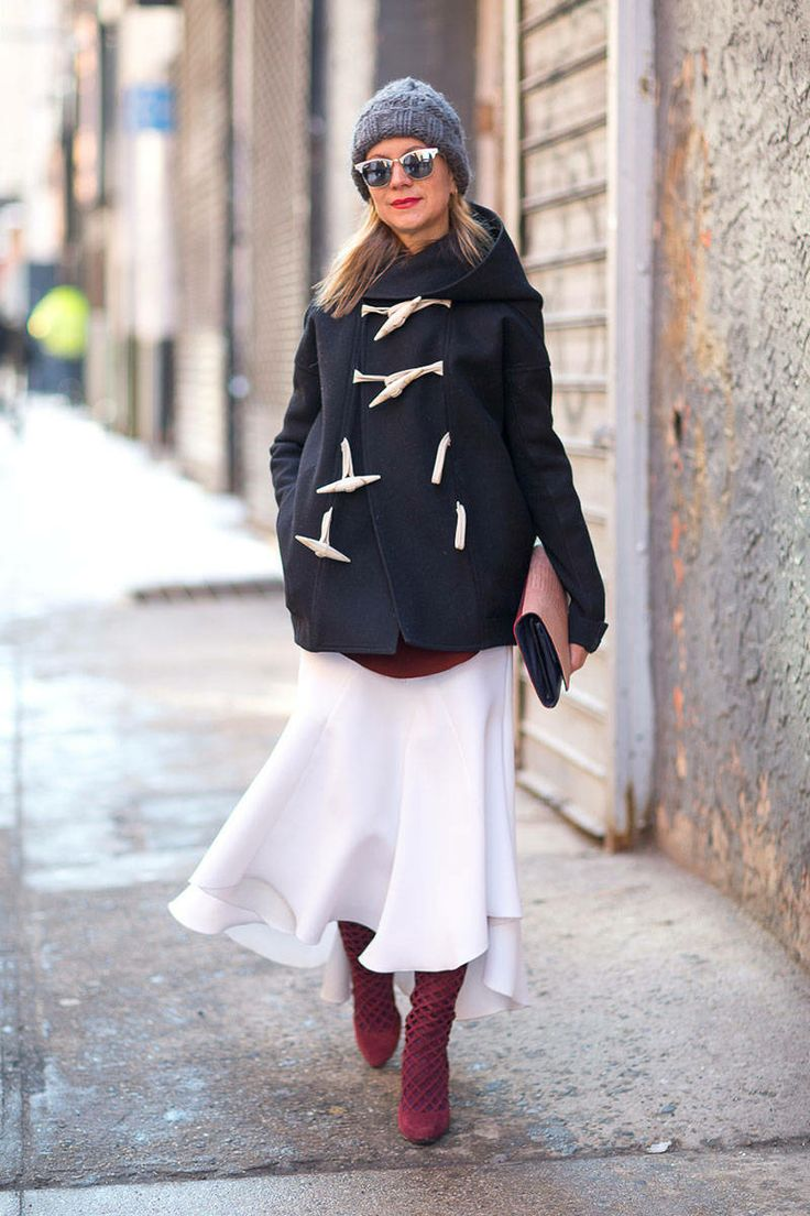 winter-whites-transitional-dressing-fall-whites-toggle-coat-red-boots-burgundy-boots-oxblood-sunglasses-beanie-clutch-natalie-joos-style-setters-via-harpersbazaar