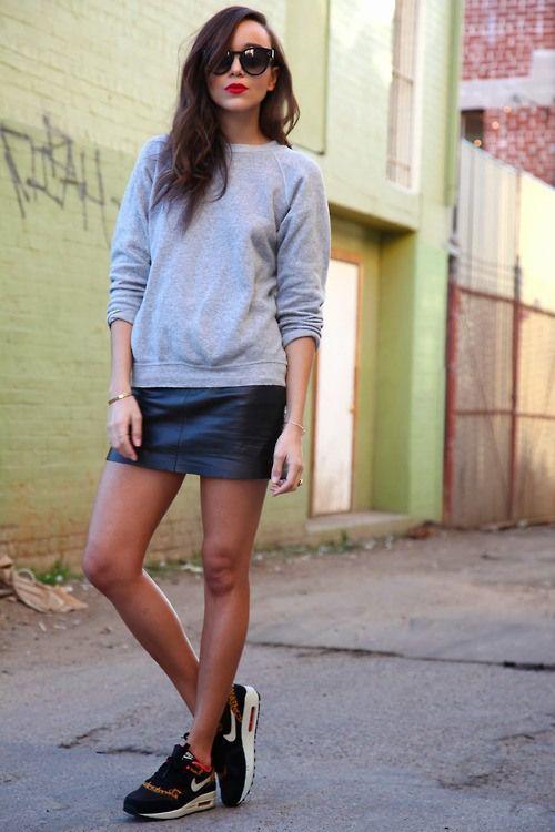 madekwe grey sweatshirt black leather mini skirt