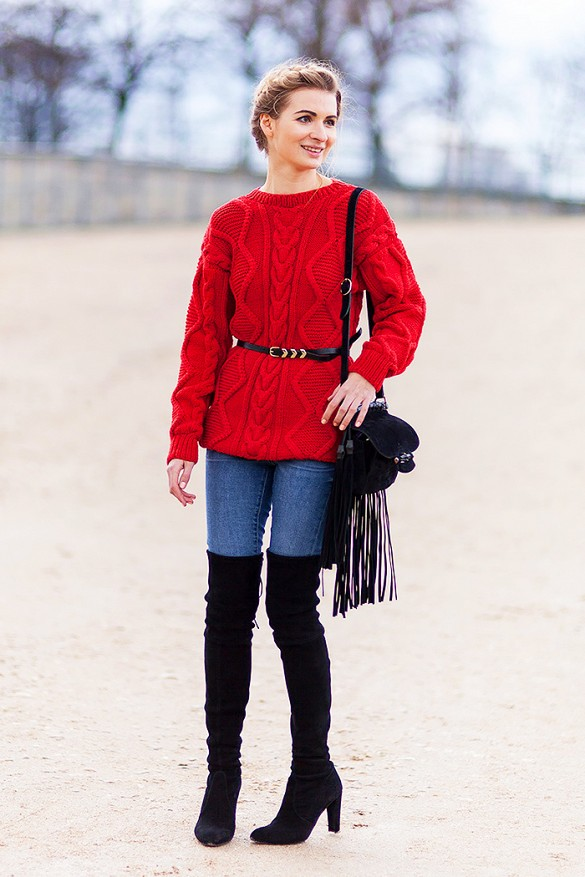 belted sweater, red sweater, over the knee boots, jeans, fringe bag, fall outfit
