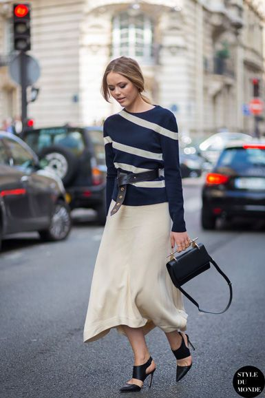 belted sweater, midi skirt, fall work outfit