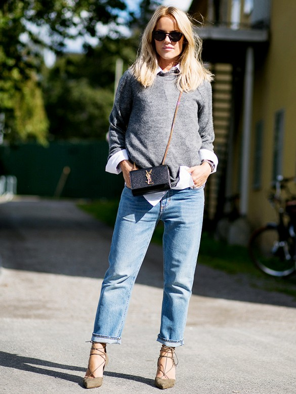 boyfriend-jeans-cuffed-jeans-heels-jeans-sweater-and-collared-shirt-fall-layers-preppy-mini-bag-ysl-purse-lace-up-heels-grey-gray-sweater-weekend-casual-via-