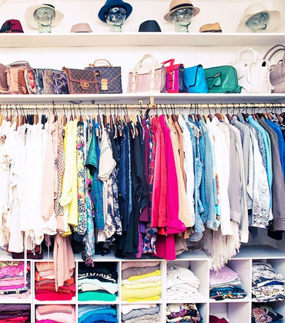 closet organizing-purse organization-sweater organiation-hat organization-hats-purses-handbags-cubbies-color coded closet-celeb closets-blogger closets-aimee song-closet-via-song-of-style