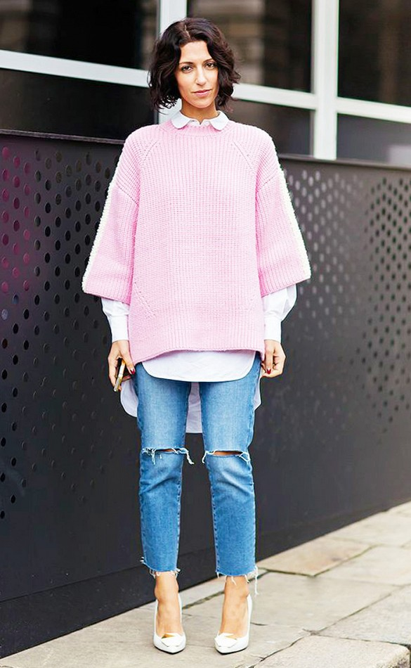 frayed-denim-skinnies-jeans-white-pumps-pastel-pink-winter-pastels-bubblegum-pink-sweater-oversized-sweater-short-sleeve-sweater-white-oxford-sweater-over-collared-shirt-layers-via-stockholm-street-style