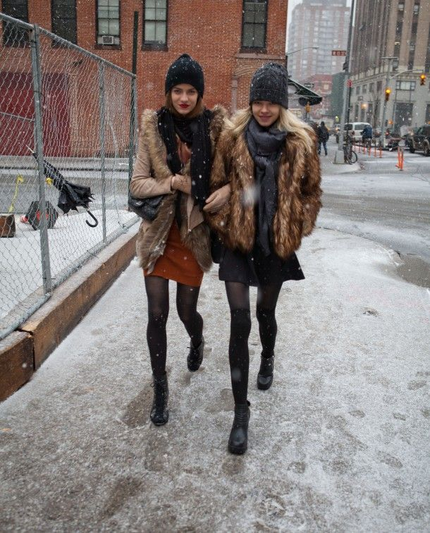 snow outfits, what to wear in a snowstorm, winter outfit, fur coats, beanies
