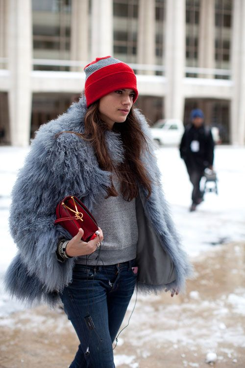 fur-coat-colored-fur-coat-pastel-blue-coat-beanie-sweatshirt-jeans-going-out-night-out-weekend-winter-layers-via-harpersbazaar.com
