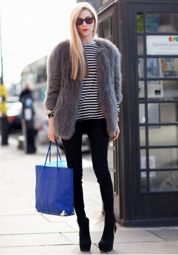 grey fur coat, winter outfit, how to wear a fur coat, joanna hillman