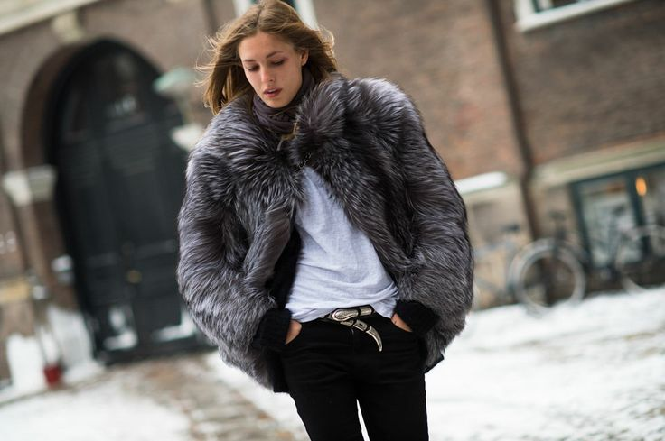 grey fur coat, winter outfit, how to wear a fur coat
