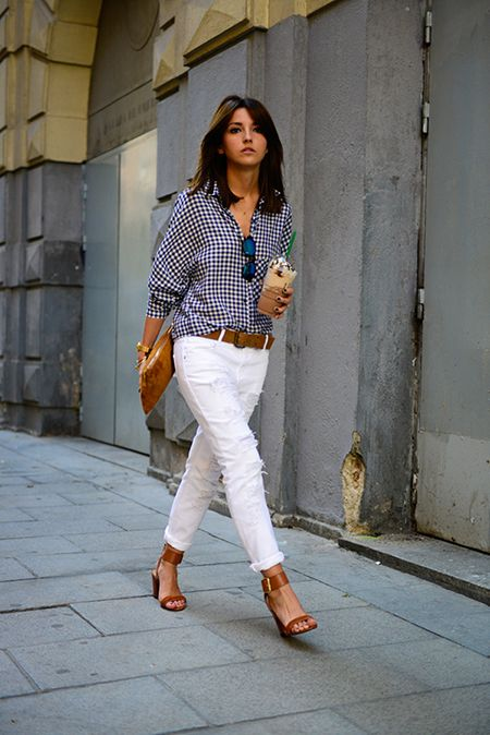 distressed white jeans, boyfriend jeans, gingham oversized shirt, sandals, going out, night out, preppy, summer weekend outfit