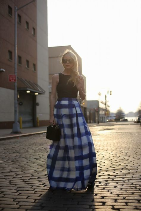 atlantic-pacific, gingham maxi skirt, black crop top, summer weddings, parties, occassions