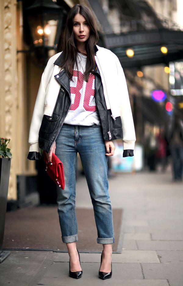how to cuff your jeans, jeans, denim styling tips, jersey, moto jacket, double coats