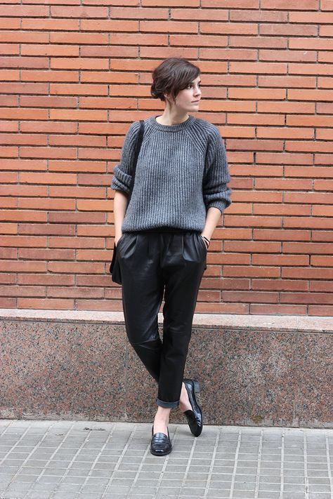 grey and black, black leather joggers, grey gray sweater, loafers, tucked in sweater, fall weekend outfit