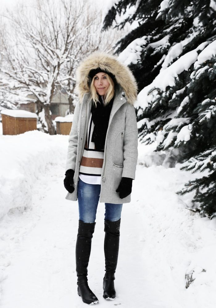 what to wear to apres ski, ski outfit, winter outfit, snow outfit, fur trim parka coat, over the knee boots