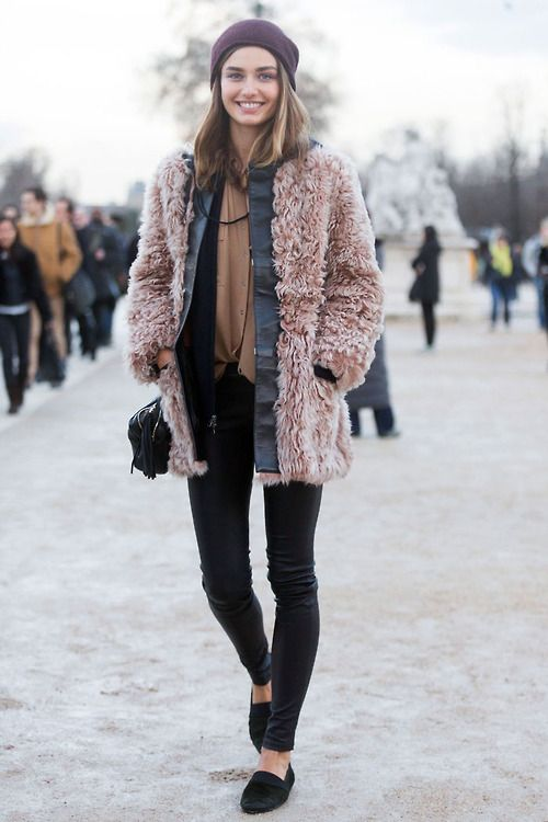 beanie, winter outfit, how to wear beanies, winter hat, knit hat, polar-vortex-winter-layers-beanie-pink-pastel-coat-furry-coat-teddy-bear-coat-black-leather-skinnies-via-40.media.tumblr.com