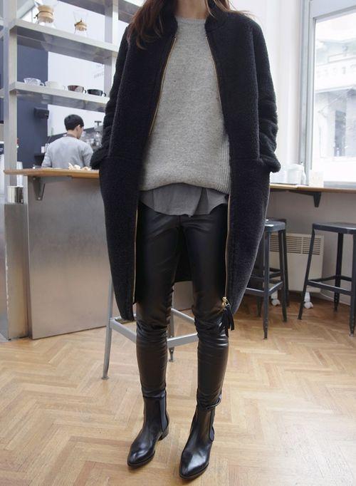 polar vortex winter layers neutrals chelsea boots black