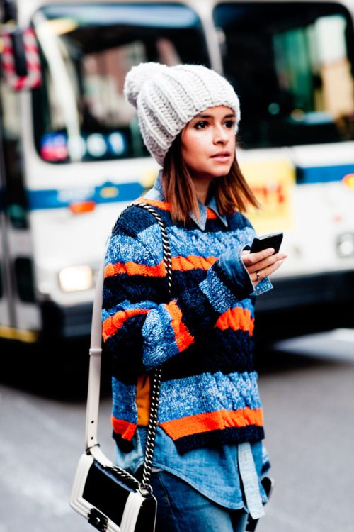 beanie, winter outfit, how to wear beanies, winter hat, knit hat, striped rainbow stripes sweater, pom pom hat, layers