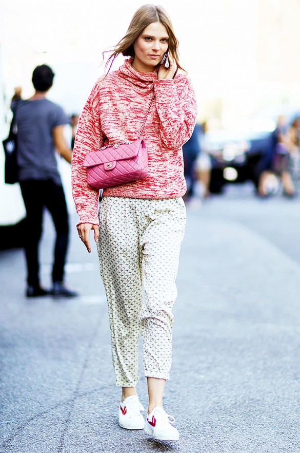 printed-pants-joggers-turtleneck-sweater-marled-sweater-pink-chanel-quilted-bag-sneakers-white-sneakers-red-and-pink-pajamas-via-imaxtree-via-