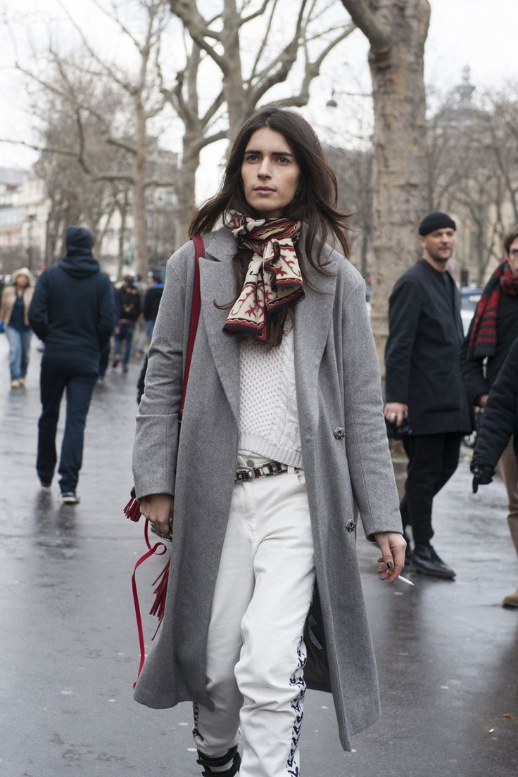 white jeans, grey coat, scarf, winter whites, off duty model style, holiday, shopping