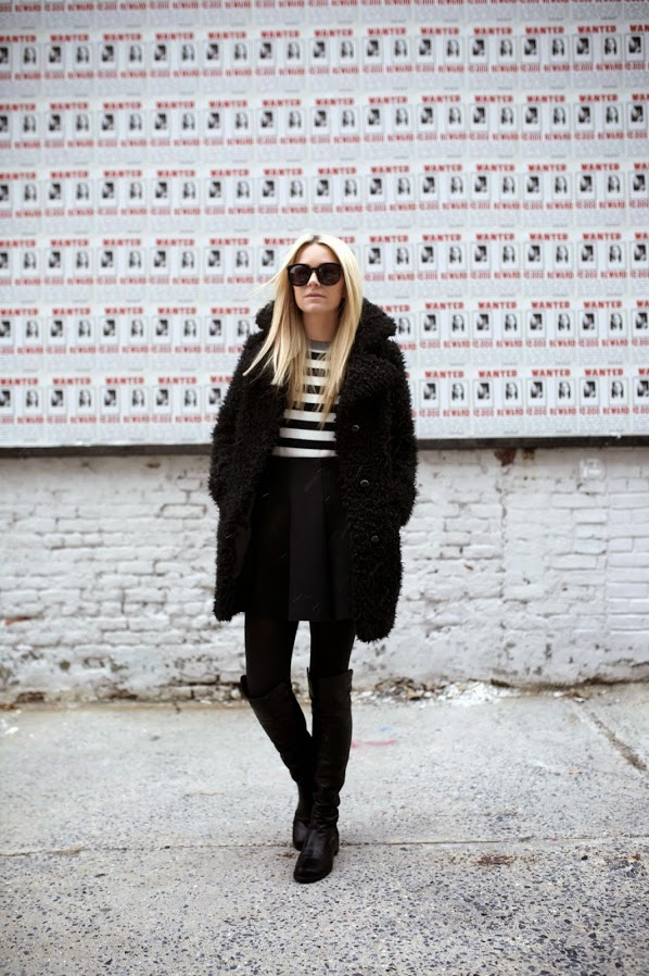 how to wear over the knee boots, stripes-over-the-knee-boots-fur-coat-black-and-white-atlantic-pacific-blair-eadie