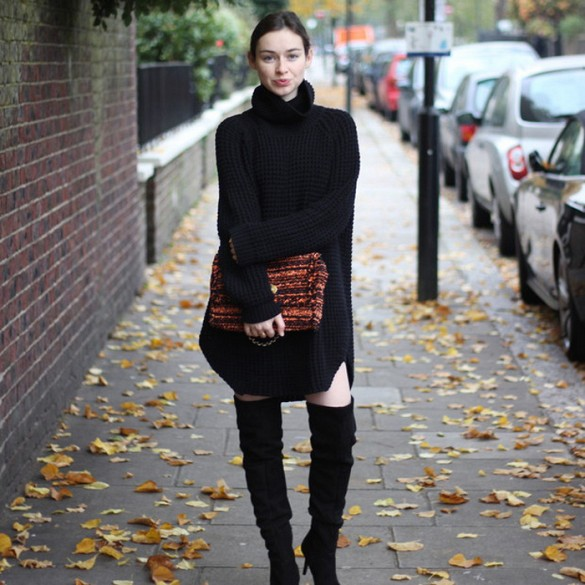 pose.com, turtleneck sweater dress, black over the knee thigh high boots, oversized orange clutch, all black, black and orange