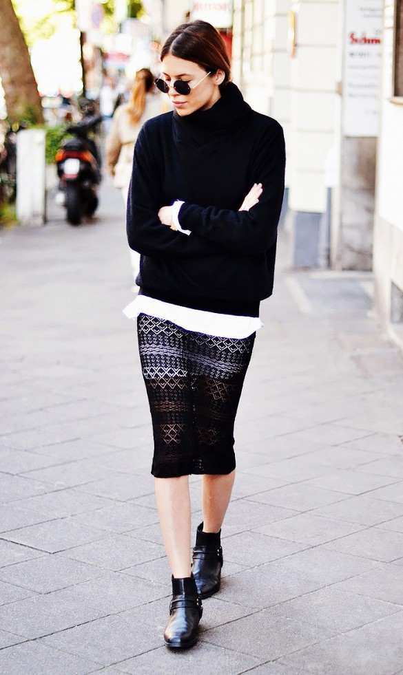 turtlenecks and skirts, black sheer crochet skirt