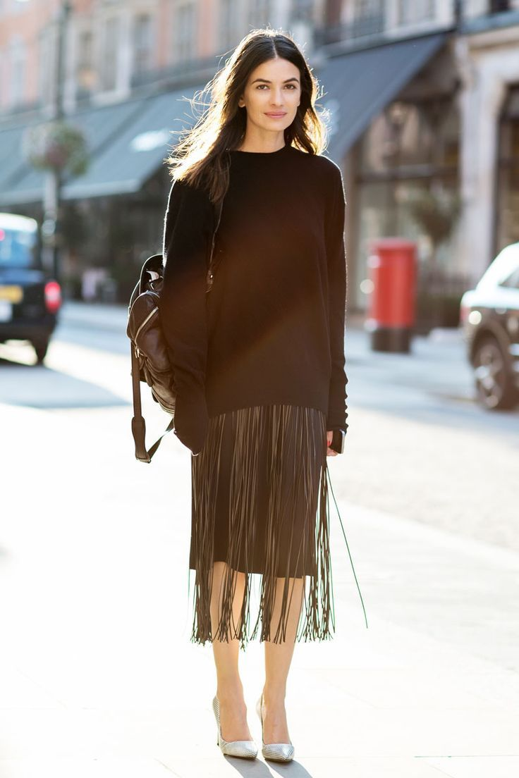 sweaters and skirts, winter outfit, fringe skirt