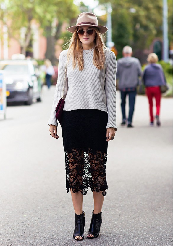 lace pencil skirt, peep toe booties, sweater, hat
