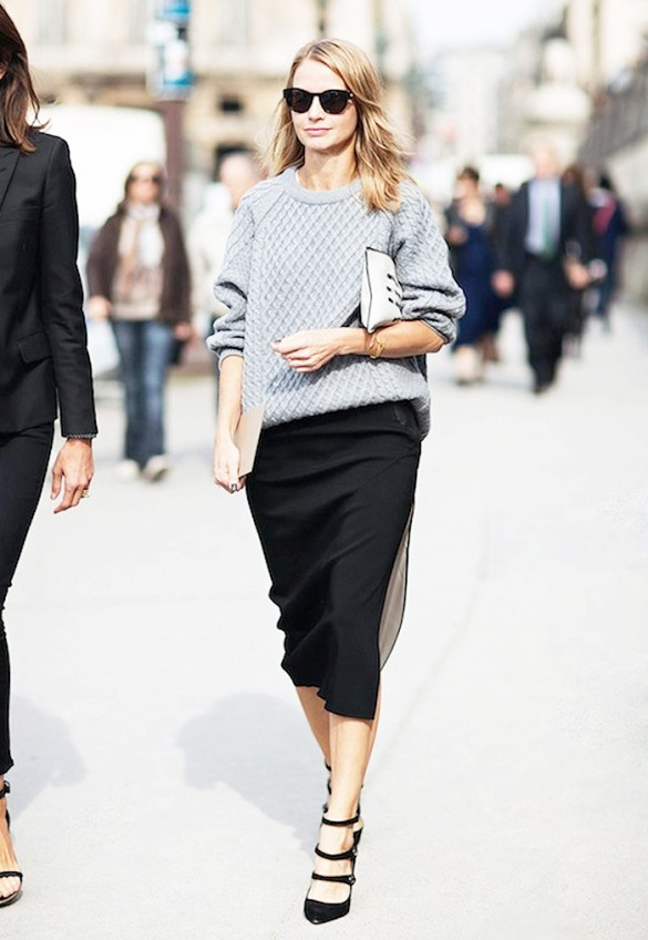 grey and black, black pencil skirt, grey sweater, winter work outfit