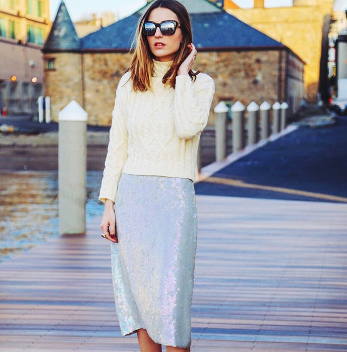 sweaters and skirts, winter outfit, fisherman sweater, sparkly sequined skirt