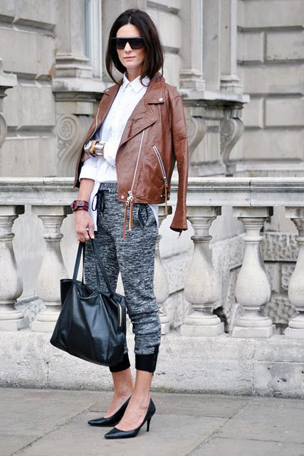 how to wear brown and black, sweatpants-joggers-grey-sweats-brown-leather-moto-jacket-white-oxford-black-pumps