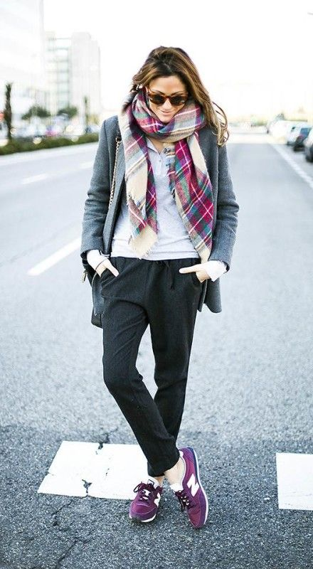 sweats-sweatpants-grey-joggers-plaid-scarf-grey-blazer-gray-nike-sneaers-gym-shoes-via-fervena.com