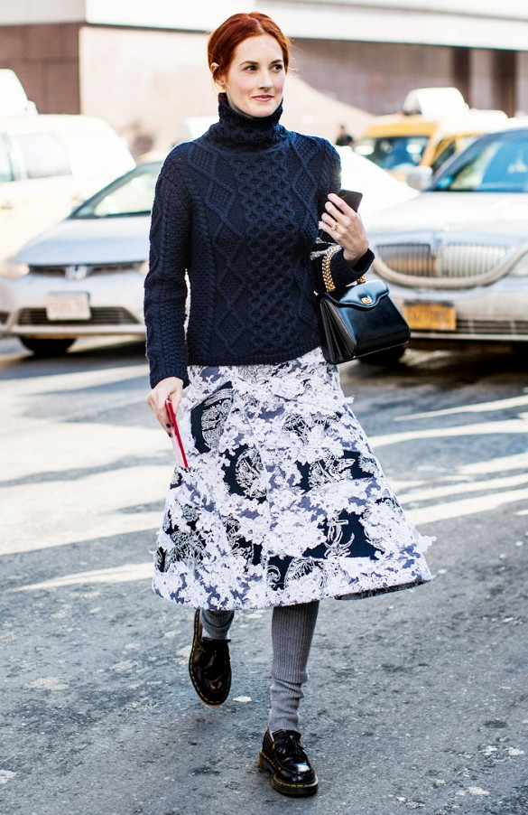 sweaters and skirts, fall winter outfit, taylor tomassi hill, grey tights, navy turtleneck sweater, floral skirt