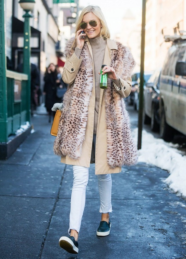 turtleneck-fur vest jacket-ankel jeans-slip on sneakers-weekend winter outfit-via getty