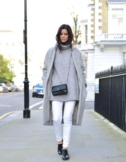 white jeans in winter, grey sweater, grey coat, white and gray, winter whites, winter outfit, winter weekend outfit