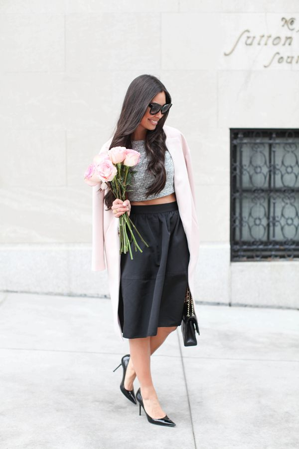 valentines-day-outfit-pastel-pink-coat-black-knee-skirt-crop-top-winter-cropped-sweaters-winter-pastels-date-outfits-via-withlovefromkat.com
