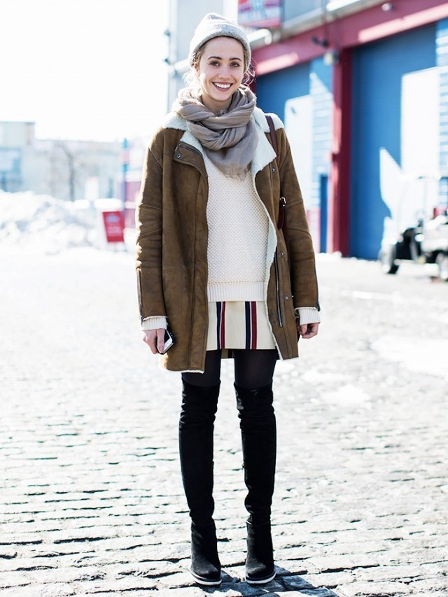 snow outfits, what to wear in a snowstorm, winter outfit, winter outfit-black sknnies-over the knee boots-striped tunic dress-fisherma sweater-shearling coat-winter outfit-lauren pantin